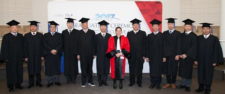 Chinese graduation ceremony in Paris with Isabelle Huault - Executive Doctorate in Business Administration - Paris-Dauphine, Tsinghua, BNAI